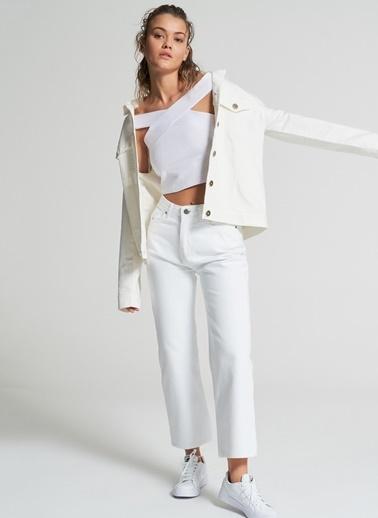 Pi π Omuzları Detaylı Bluz Beyaz